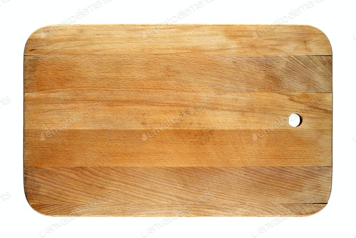 Old chopping board isolated on white background