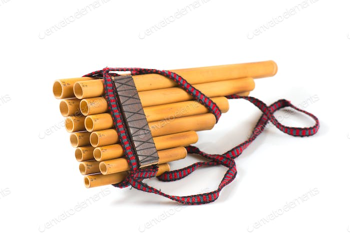 Pan flute on a white background
