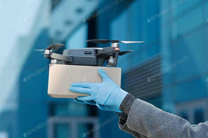 Quadrocopter drone delivery package, contactless and safe shipping