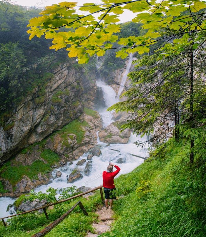 huge mountain waterfall