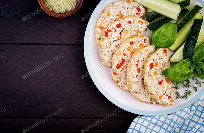 Chicken meat loaf with vegetables. Healthy meatloaf. Top view