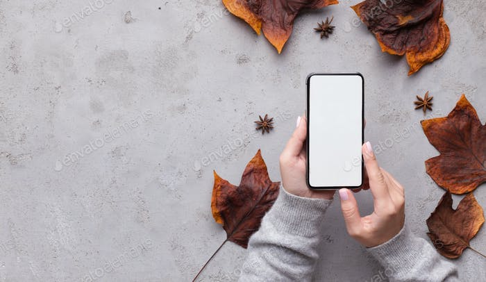 Cellphone with white blank space in woman hands over gray