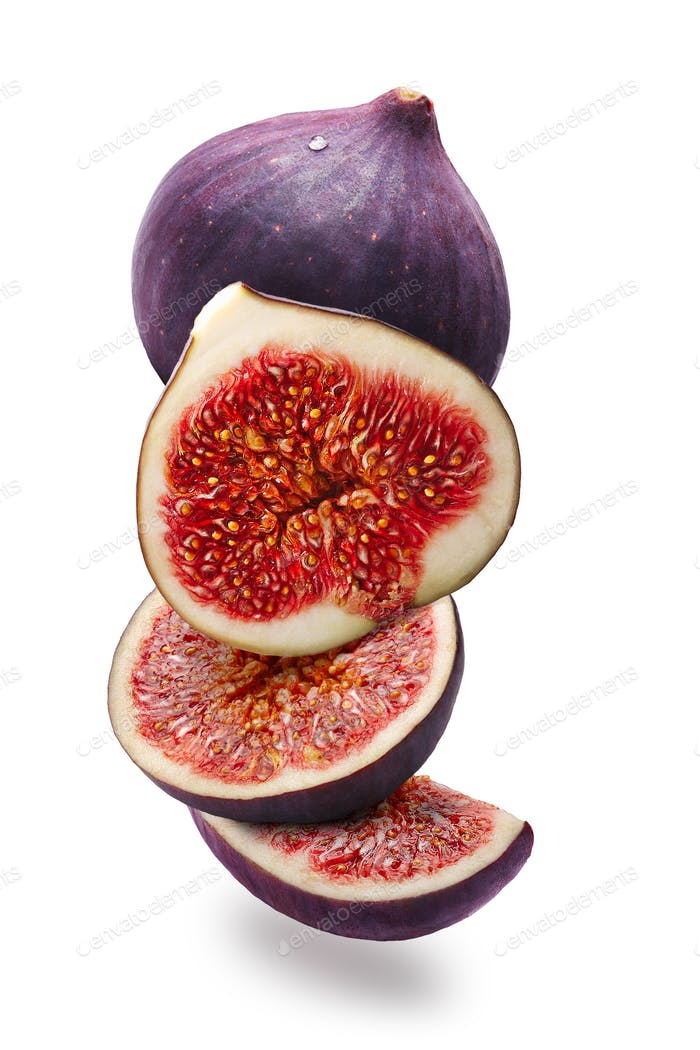 Figs whole and sliced (Ficus carica), vertical,  paths