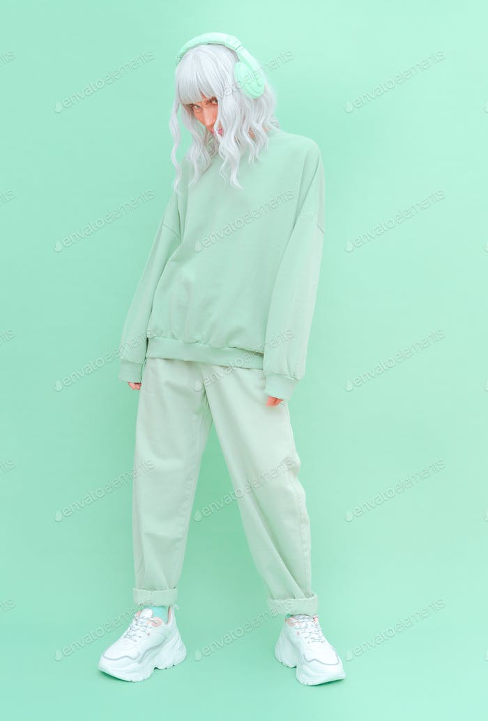 Fashion Dj Girl in Fresh Mint clothing. Minimal aesthetic monochrome design. Aqua menthe color