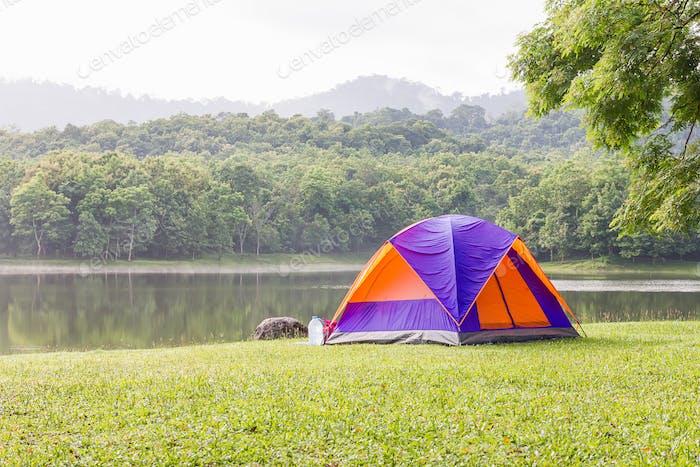 Dome tents camping at lake side _-4