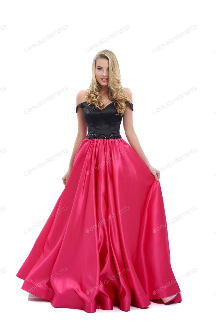 Amazing long evening dress with black top and pink lower part