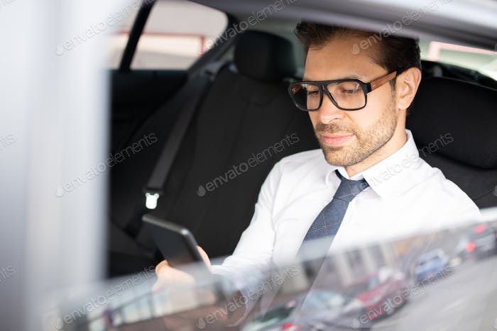 Businessman in car