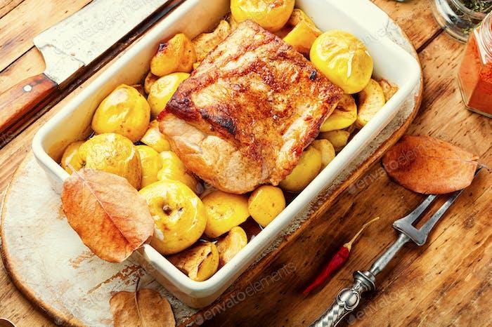 Slices of baked pork loin