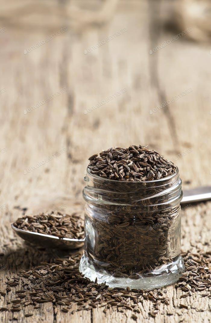 Caraway grain in the jar