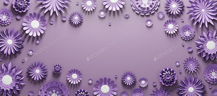 Violet paper flowers background with empty space