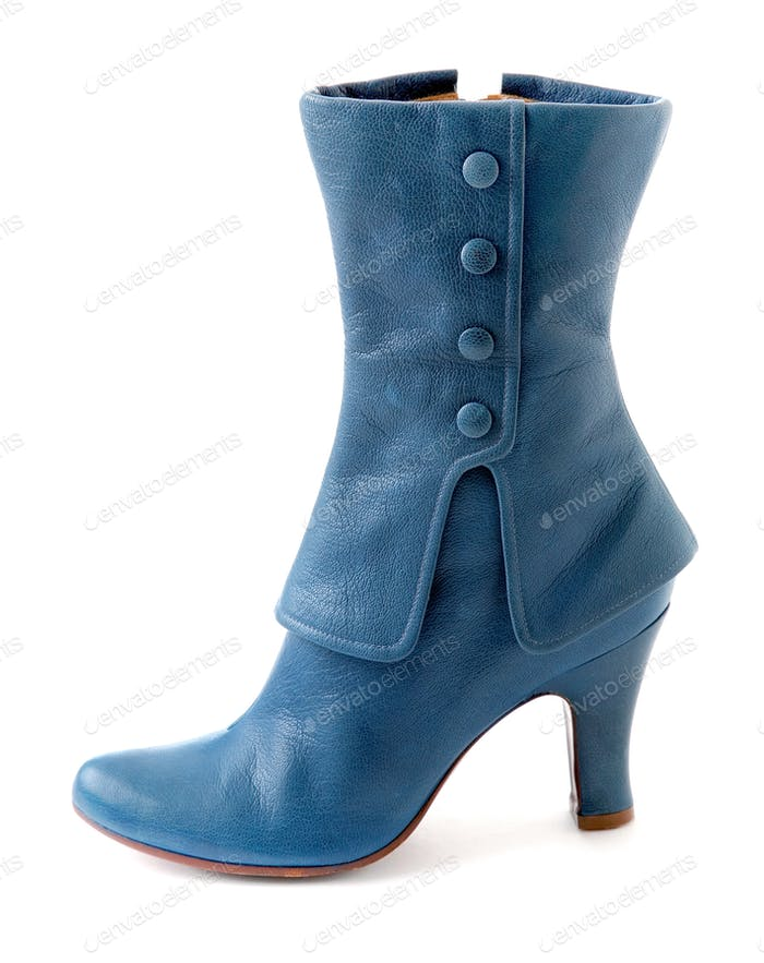 Glamourous blue leather high heel boot