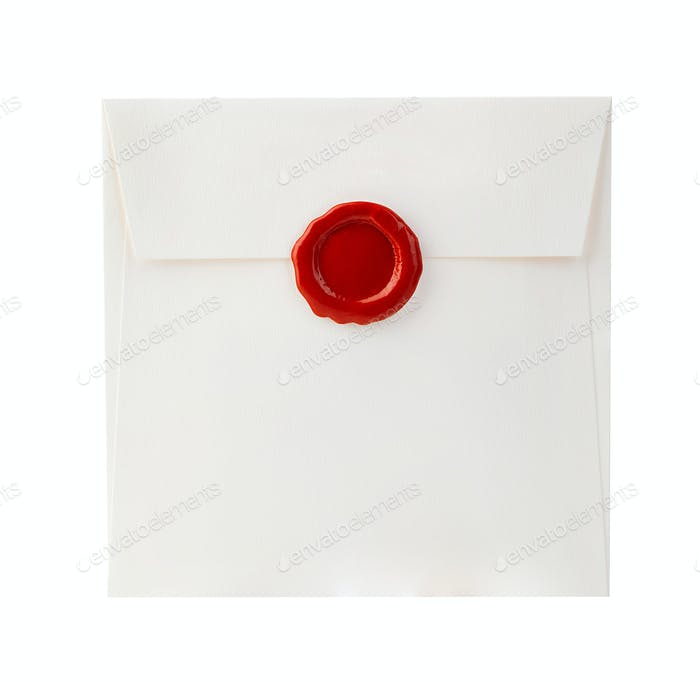Mail envelope with red wax seal close-up isolated on a white background.