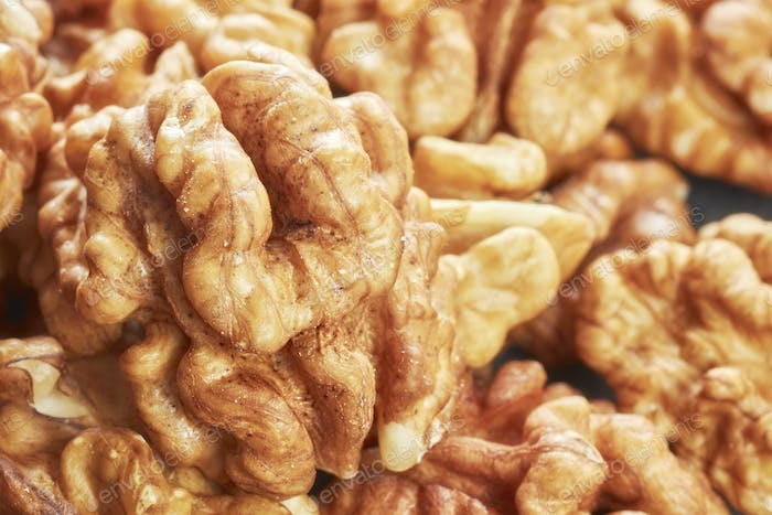 Extreme close up picture of walnuts.