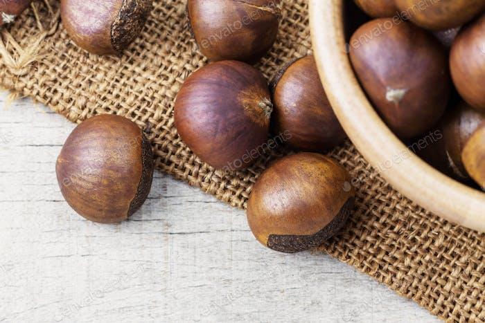 Chestnuts on sack