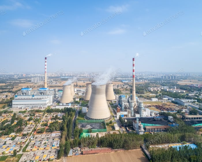 aerial view of thermal power plant