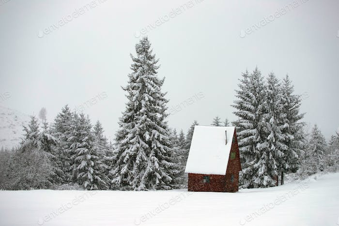 Snow covered hut in the mountains