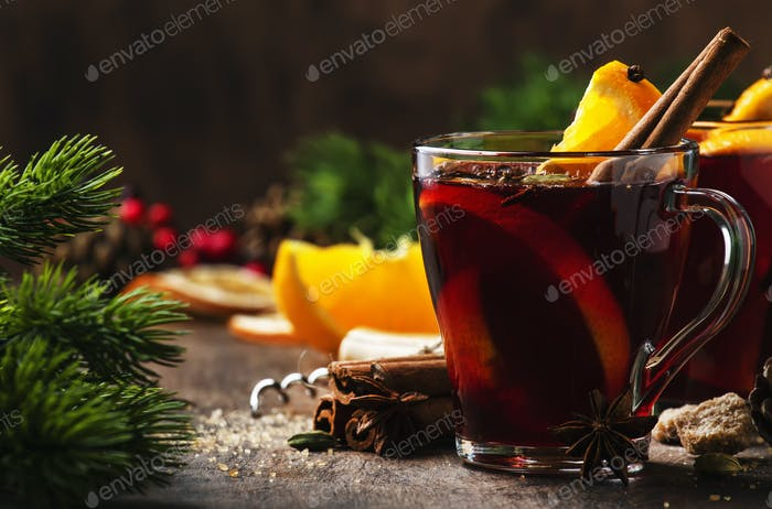 Traditional Christmas or New Year warming drink in festive table setting