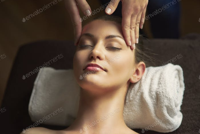 Massage of head at the spa