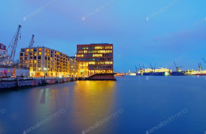 Docks and office buildings