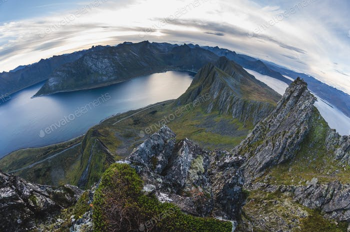 mountain range of Senja island, Norway