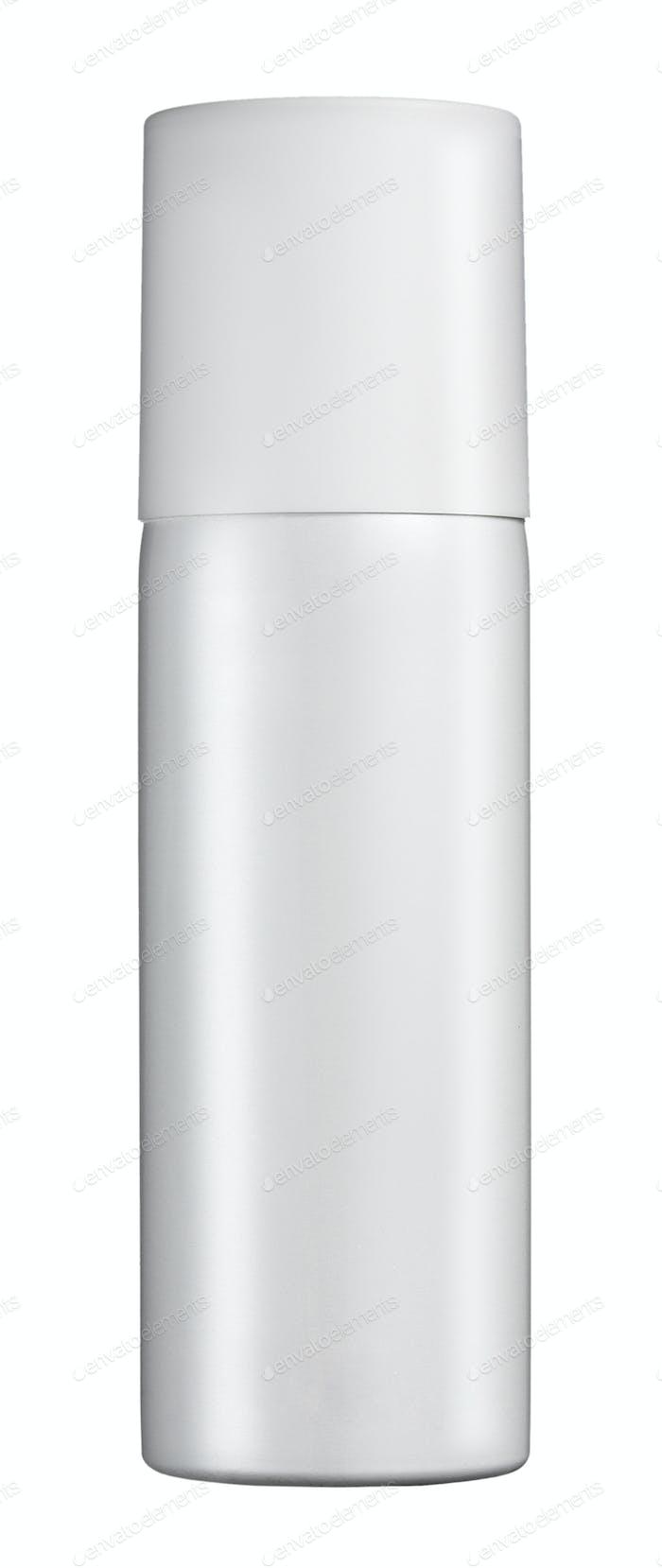 Plain white cylindrical spray bottle