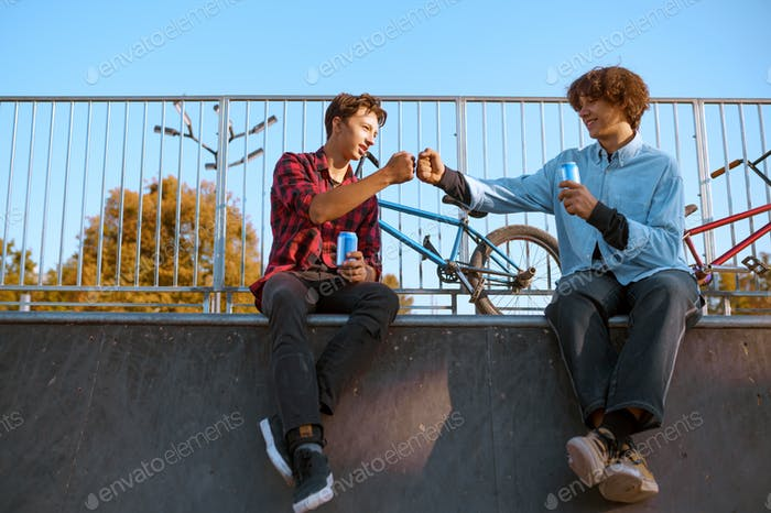 Young bmx bikers leisures on ramp in skatepark