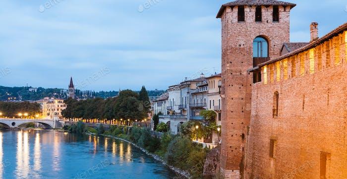 waterfront of Adige river in Verona in evening