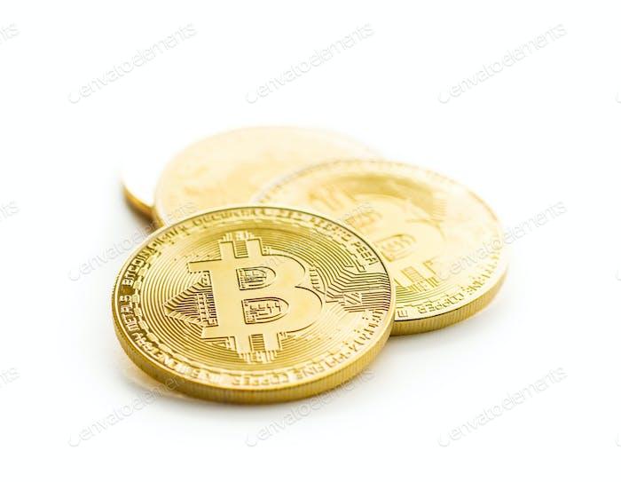 Bitcoins de oro. Criptomonedas.