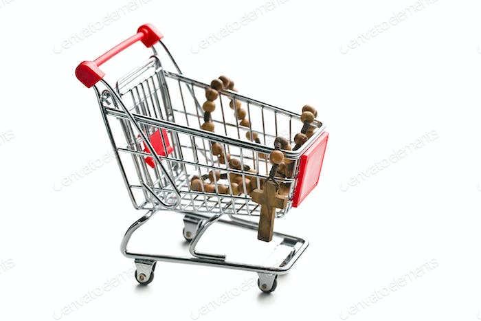 rosary beads in shopping cart