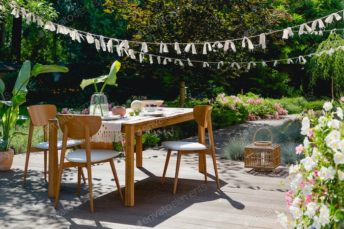 Wooden and rattan decorations
