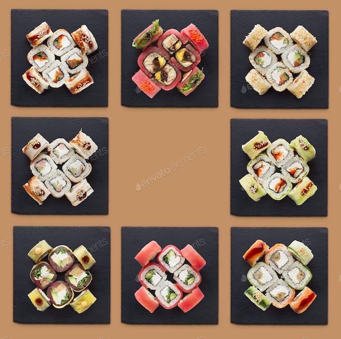 Коллаж из ассорти суши наборов
