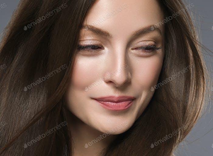 Beautiful hair woman long brunette hair beuty skin make up