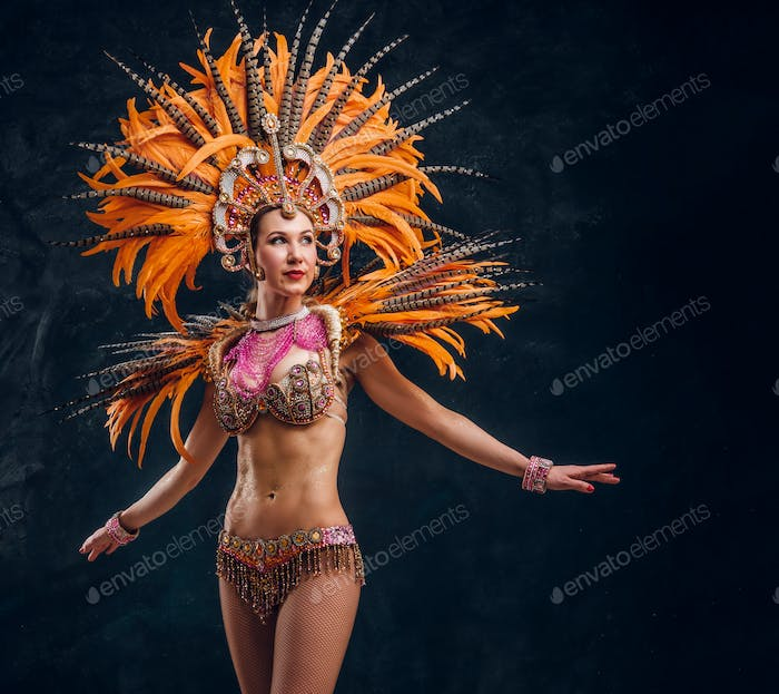 Beautiful young female in special feather costume is dacing