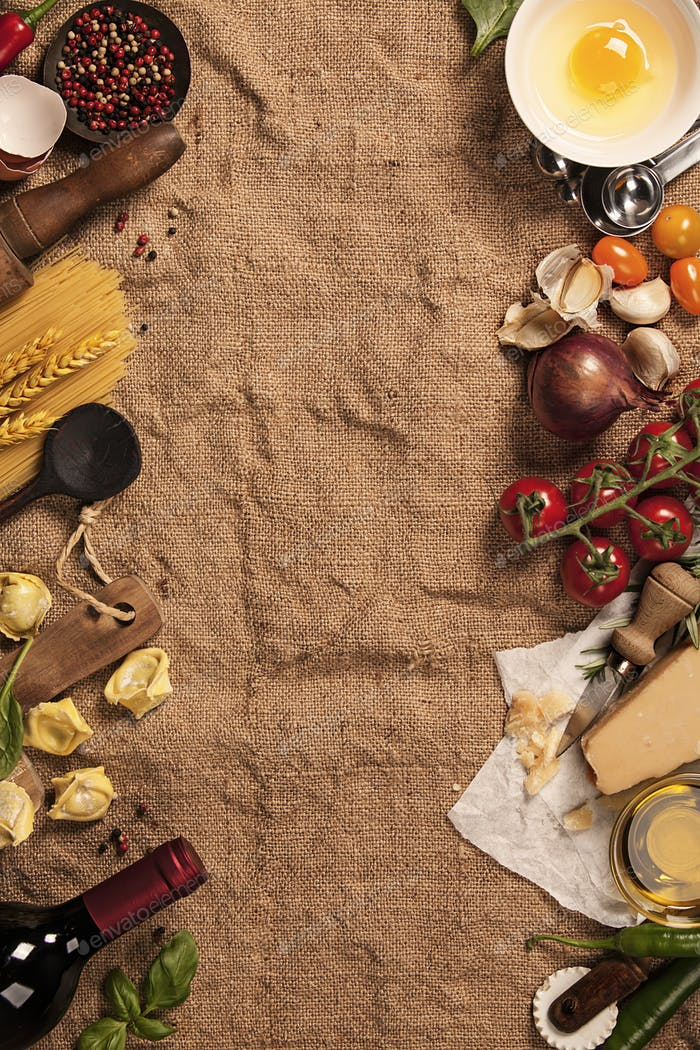 Italian food background. Burlap background with space for text