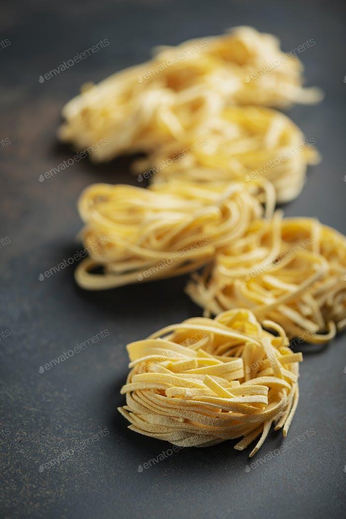 italian raw pasta tagliatelle