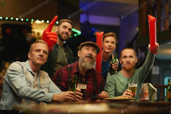 Football fans in the bar