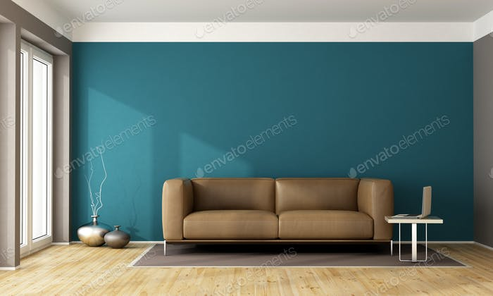 Blue contemporary living room
