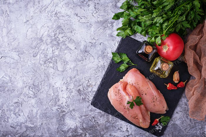 Raw chicken breasts or fillets