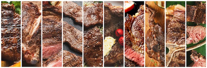 Collage of tasty juicy fresh grilled meat