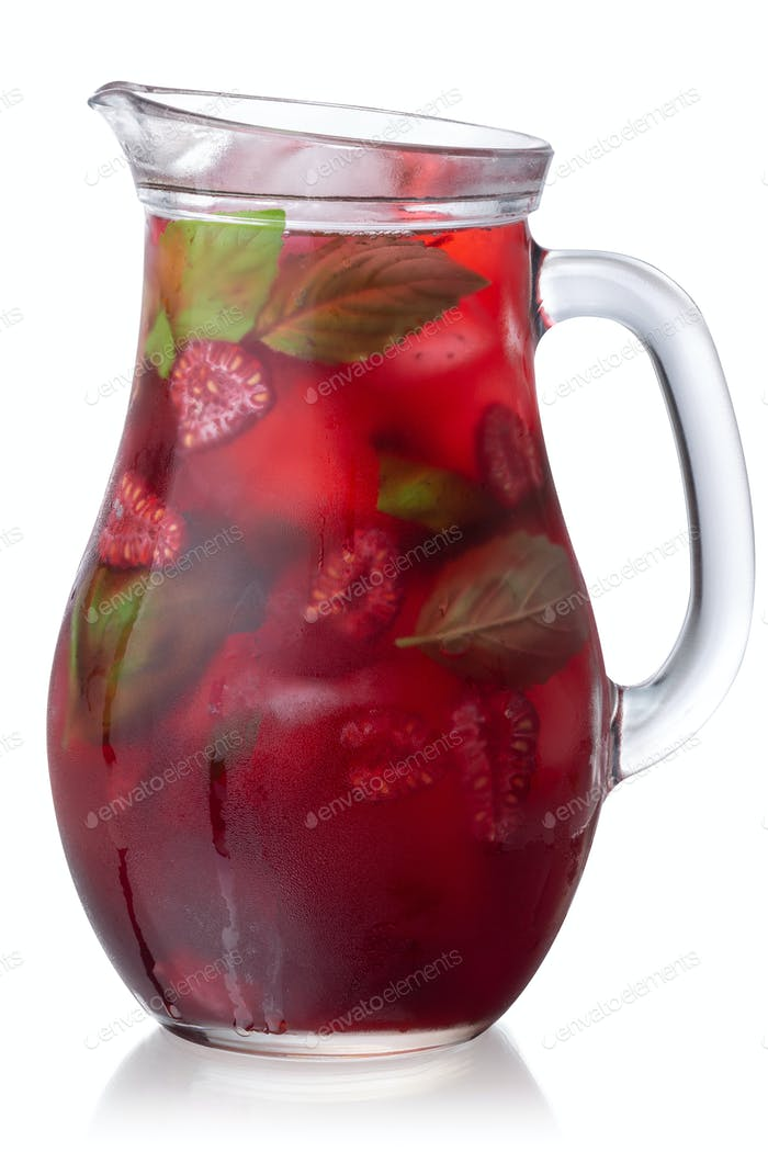 Raspberry basil iced drink jug, paths