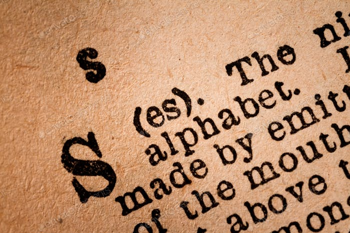 Close-up of a S, the 19th Letter of the Latin Alphabet
