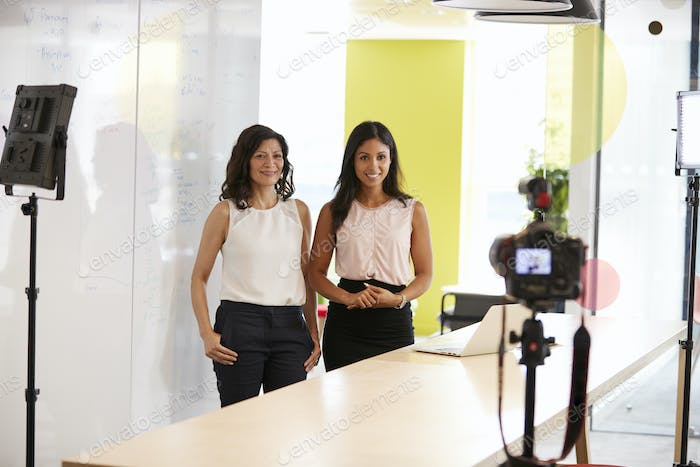 Two women making a corporate demonstration video