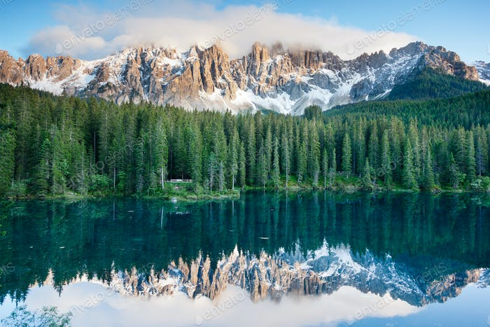 Karersee, lake in the Dolomites in South Tyrol, Italy.