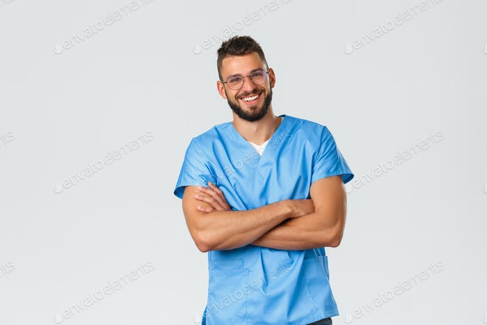 Healthcare workers, medicine, covid-19 and pandemic self-quarantine concept. Attractive carefree