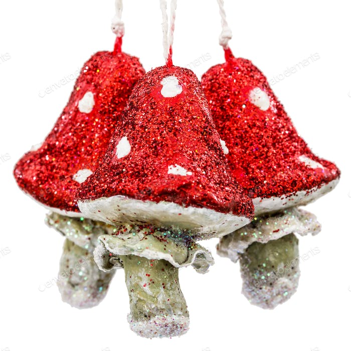 Mushrooms amanita, vintage decoration for Christmas tree, isolat
