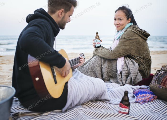Couple having a romantic date at the beach