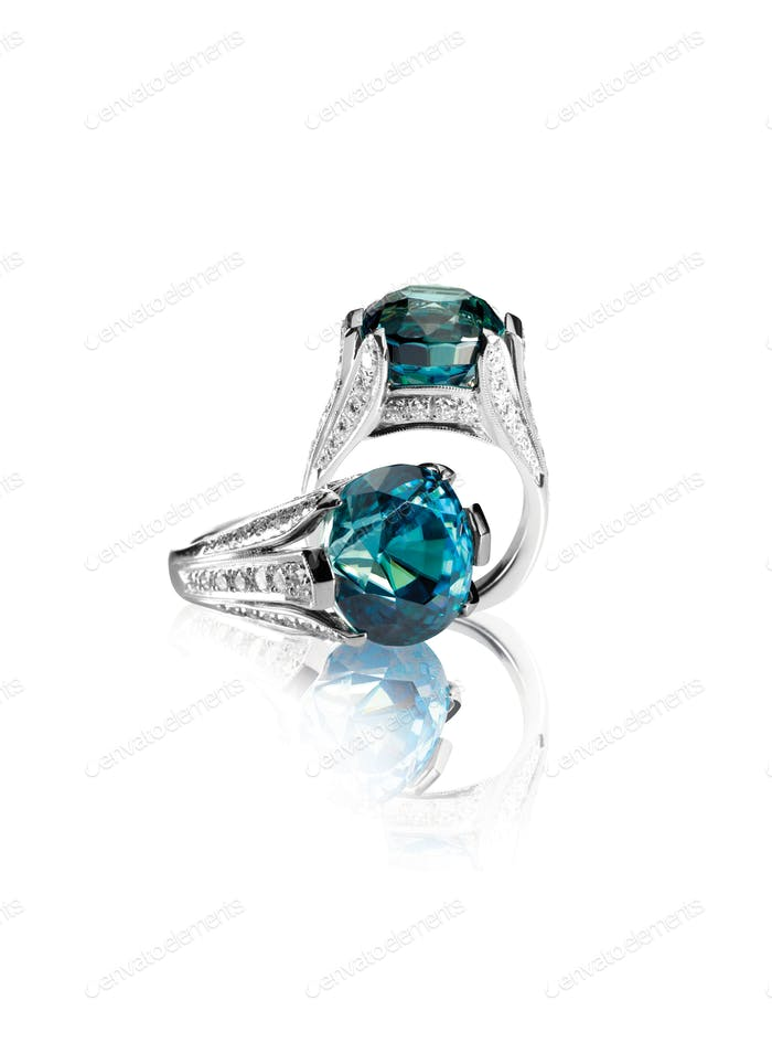 Two Green blue turquoise gemstone and diamond engagement rings