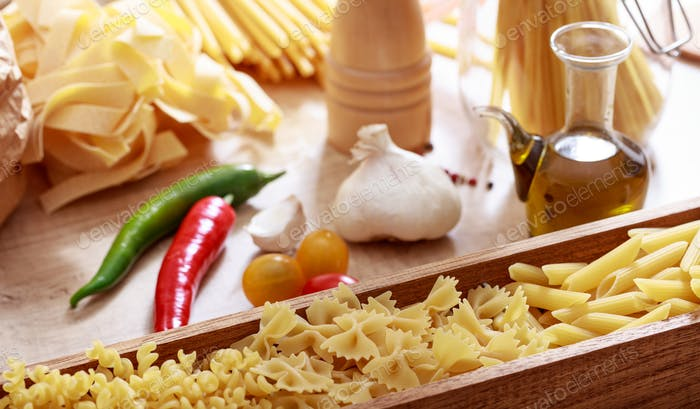 Raw farfalle pasta in a box