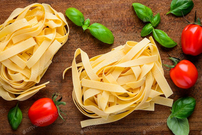Tagliatelle and Cooking Ingredients