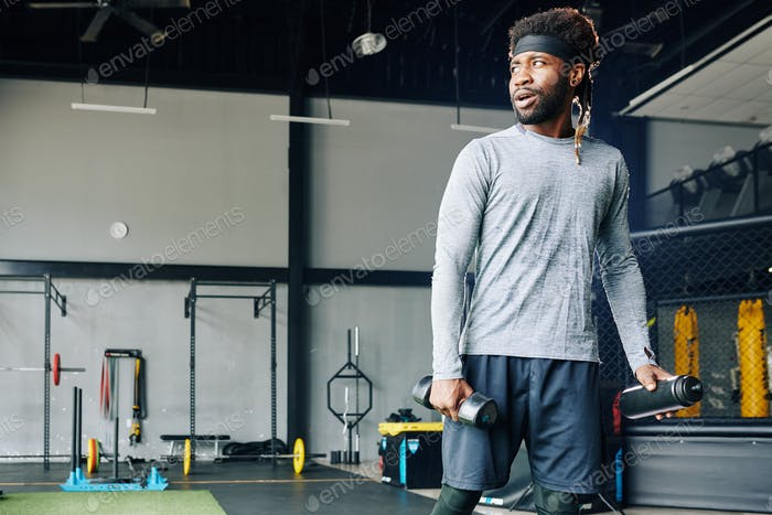 Sporty Man Starting Exercise